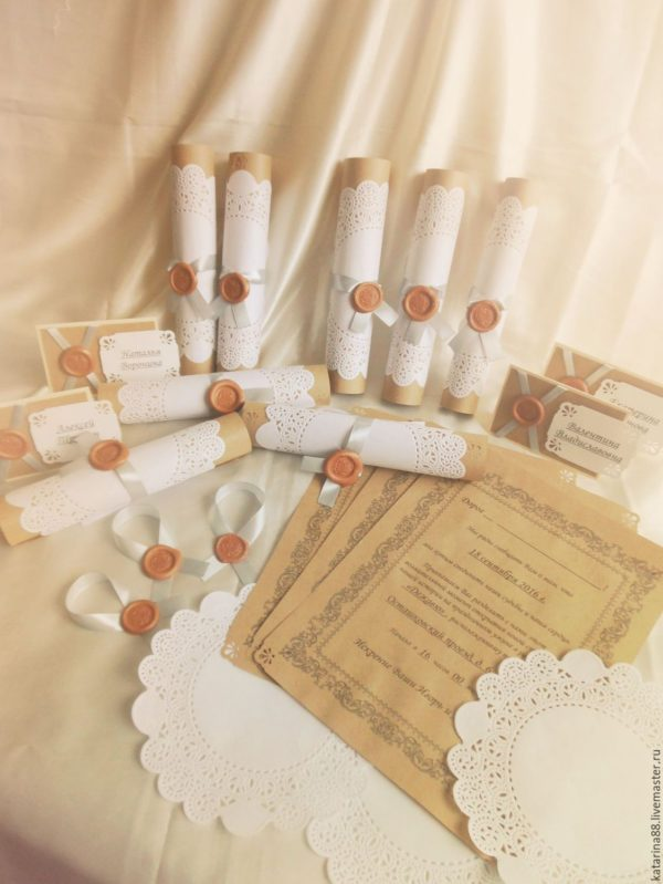 Свадебное приглашение-свиток с печатью (сургуч)+рассадочные карточки