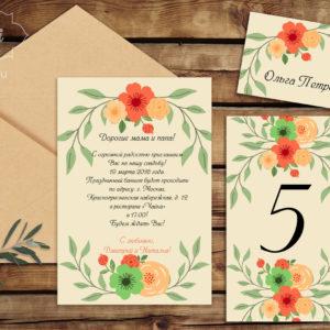 Пригласительные на свадьбу пастельных цветов